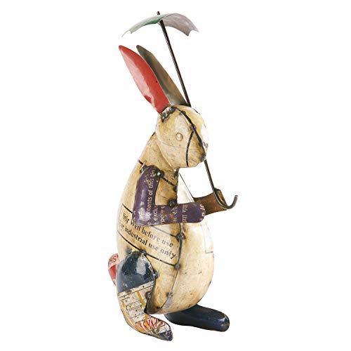 ART & ARTIFACT Rabbit with Umbrella Garden Sculpture - Recycled Metal Outdoor Decor Hare Bunny Figurine Statuette