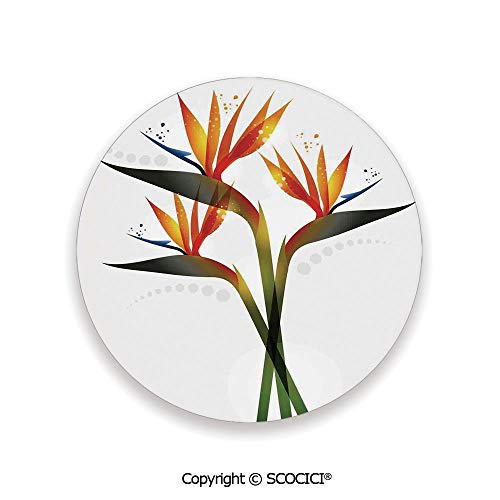 Ceramic Coaster With Cork Mat on the back side, Tabletop Protection for Any Table Type, round coaster,Flower Decor,Ombre Colored Botanic Tropical Garden Plant,3.9