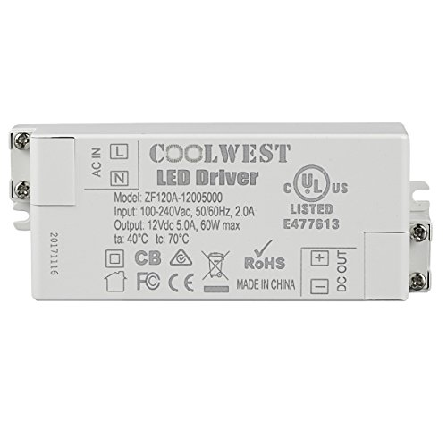 COOLWEST Transformer Driver Power Supply 60W 12V for LED Strip Lights and G4, MR11, MR16 Light Bulbs by COOLWEST (Image #3)