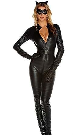 Forplay Fierce Feline Ears, Mas, Jumpsuit, Belt, Gloves, Black, X-Small/Small
