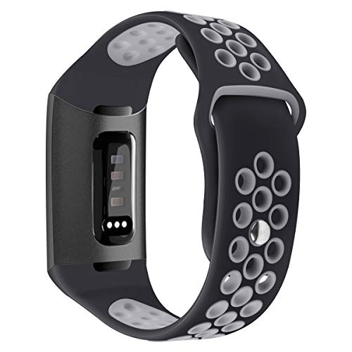 MLQSS Silicone Band Compatible with Fitbit Charge 3 Band, Soft Breathable Watch Strap Accessory Sport Band Wristband Replacement for Fitbit Charge 3/Charge 3 SE Fitness Activity Tracker Women Men