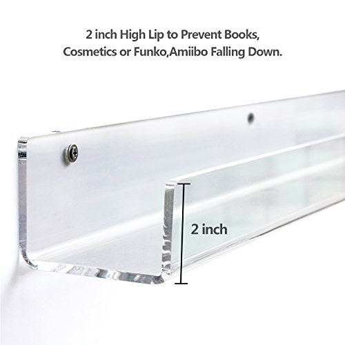 Acrylic Invisible Kids Floating Bookshelves 2 Pack - 5mm Thick,Free Screw Driver - 3 Lengths: 16.5/24/36 Inch Wall Mounted Floating Ledge Shelf; Perfect for displaying books