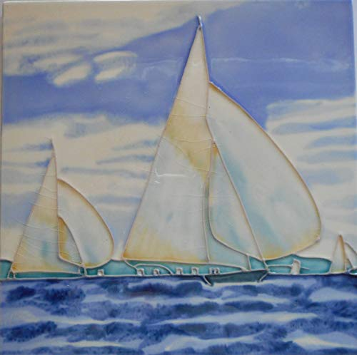 Sailboats Ceramic Art Tile 8 x 8 inches Easel -