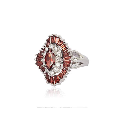 ASHNE JEWELS 925 Sterling Silver Ring Studded With Natural Garnet and Cubic Zirconia Gemstone For Women
