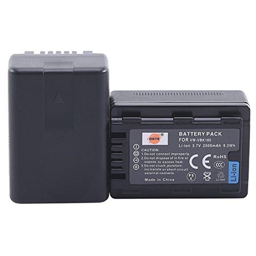 DSTE 2x VW-VBK180 Replacement Li-ion Battery for Panasonic SDR-H100 H101 HC-V500 V700 HDC-HS80 SD90 TM80 TM90 Camera as VW-VBL090