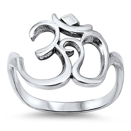 Women's Om Sign Symbol Open Unique Ring New .925 Sterling Silver Band Size 6