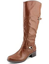 Fidoe Wide Calf Women Round Toe Synthetic Brown Knee High Boot