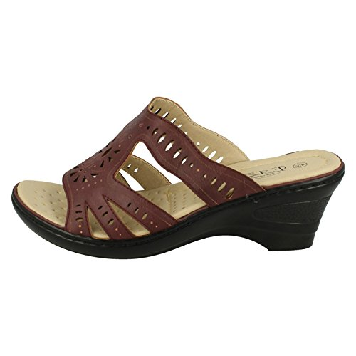Mid Ladies Slip On Burgundy Red Wedge Mules Eaze Casual qEwIdtwa