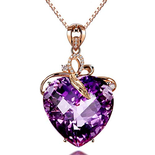 AILUOR Elegant Heart Shaped Amethyst Pendant Necklace, Luxury Fashion18K Rose Gold Love Heart Natural Purple Crystal Jewelry - Great Birthday Anniversary Mothers Day Wedding Gift (Rose Gold)