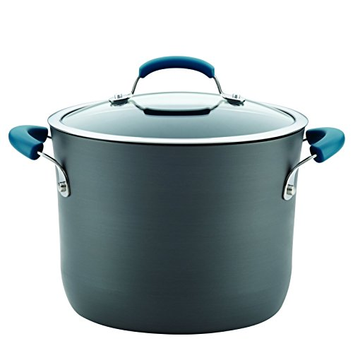 Rachael Ray 87652 8 quart Gray with Handles Hard-Anodized Aluminum Nonstick Covered Stockpot, Medium, Marine Blue
