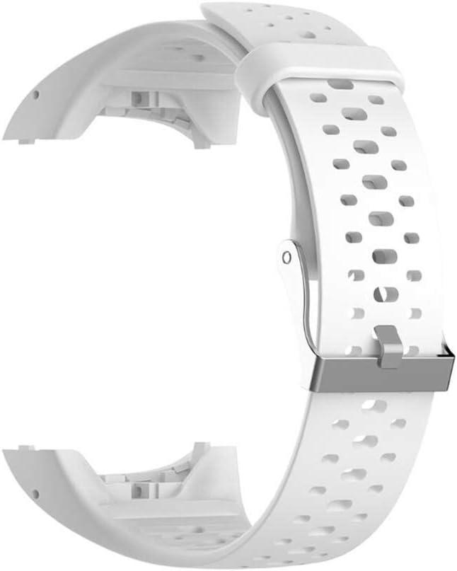 Correa de repuesto de silicona para reloj Polar M400 M430 GPS para correr, reloj deportivo inteligente con herramientas (blanco)