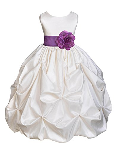 Wedding Pageant Ivory Bubble Pick-up Kid Flower Girl Dress 301s 4