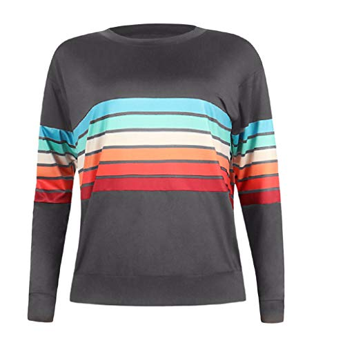 (〓COOlCCI〓Women's Casual Round Neck Color Stripe Long Sleeve Sweatshirt T-Shirts Tops Blouse Pullover Hooded Sweatshirt Gray)