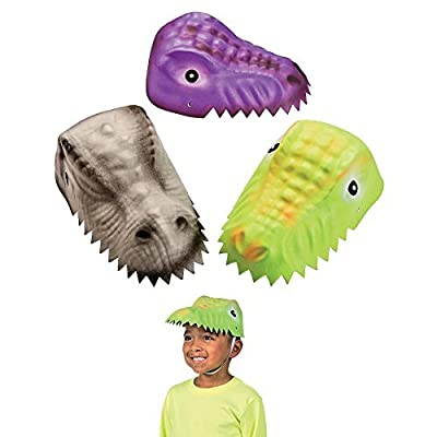 Molded Child's Dinosaur Foam Party Hats - 12 Pack Assorted Designs from Oriental Trading Company
