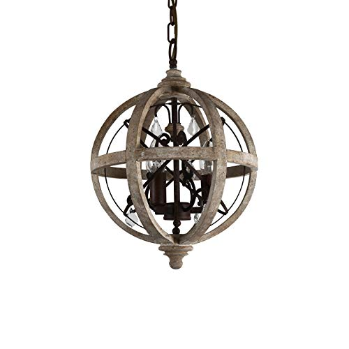 (KunMai Rustic Retro Weathered Wooden Globe Metal Orb Crystal 3-Light Chandelier Candle Style Pendant Light for Kitchen Island Entry Area Living Room (Small) )