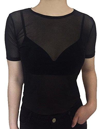 Mangopop+Women%27s+Clubwear+Sheer+Pure+Mesh+Tops+Tee+Blouse+%28L%2C+Black-Short+Sleeve+Scoop+Neck%29