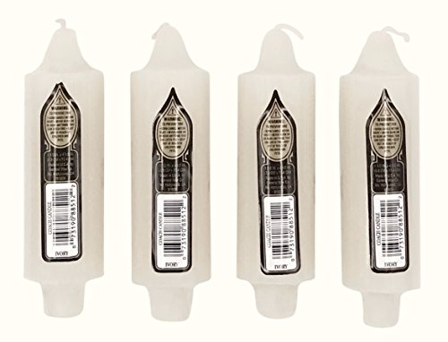 """4 per Pack Coach Candles Unscented 5"""" x 1.5"""" with 7/8"""" Base Fits Standard Taper Candle Holders (Ivory)"""
