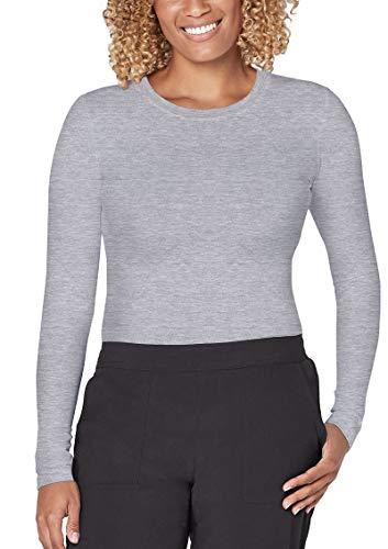 Adar Addition Scrubs for Women - Long Sleeve Fitted Underscrub Tee - A5300 - Light Heather Grey - M