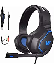[2019 Edition]Gaming Headset for PS4 PC Xbox One Nintendo Switch, Ultra Lightweight(0.65 lb) 3D Surround Sound, Noise Cancelling Mic. Headphone for iPad iPhone Samsung Andriod Laptop by VWELL