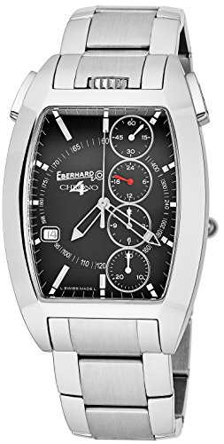 Eberhard   Co Chrono 4 Temerario Mens Stainless Steel Automatic Chronograph Watch   Tonneau Black Face Casual Swiss Watch For Men 31047 2
