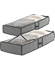 ZOBER Under Bed Storage Bag (Pack of 2) Breathable Fabric Underbed Storage for Comforter, Blanket, Clothing, Linens, Shoes Closet Storage Organizer with Clear Viewing Top and Sturdy Dual Zipper 18x42