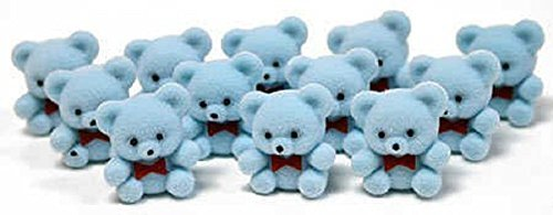 1 Mini Flocked Blue Baby Teddy Bears (48-Pack)