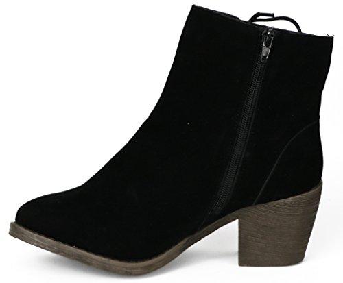 Chattes Femmes Microsuede Talon Boot Noir