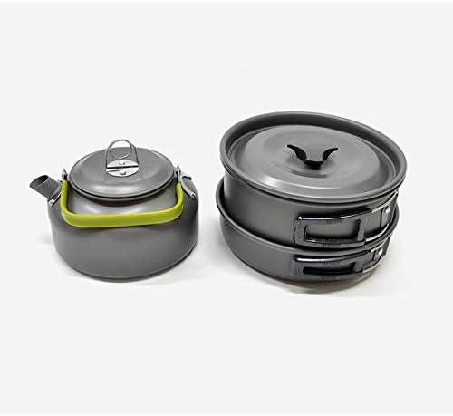 Ensemble de théière pour pot de camping en plein air, 3 pièces, trousse de batterie de cuisine en aluminium anodisé, coffre-fort pliant pour omelette-B B