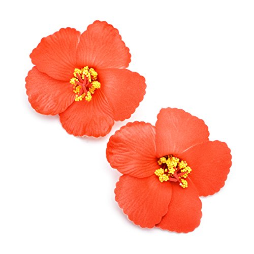 DreamLily 2 Pack Hawaiian Plumeria Flower Foam Hair Clip Bal