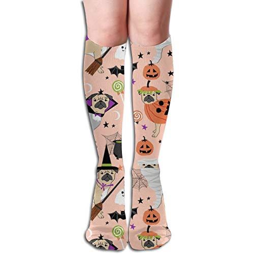 Pug Halloween Costume - Cute Dogs In Costumes - Peach Men's Women's Cotton Crew Athletic Sock Running Socks Soccer Socks 19.7 -