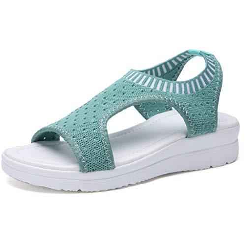 LINH MIU Women Sandals Summer 2019 New Female Shoes Woman Summer Wedge Comfortable Sandals Ladies Slip-on Flat Sandals Women Sandalias ()