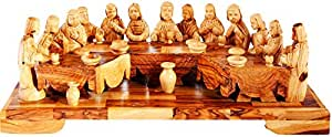 G.K Holy Land Item Olive Wood Last Supper Table, Brown and Beige