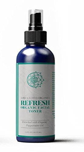Lime and Lotus Organics - Refresh Organic Facial Toner – with Aloe, Peppermint and Cranberry Extracts - For All Skin Types - Made With Organic Ingredients – No Synthetic Chemicals