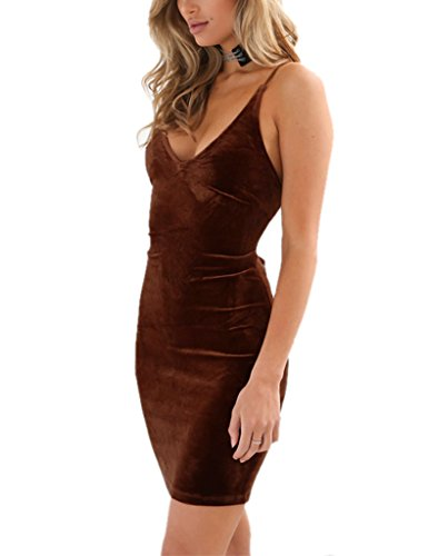 Brown Spaghetti Doramode Backless Dress Womens Sleeveless Short Club Strap Coffee Bodycon Sexy Velvet RwCqPFw5x
