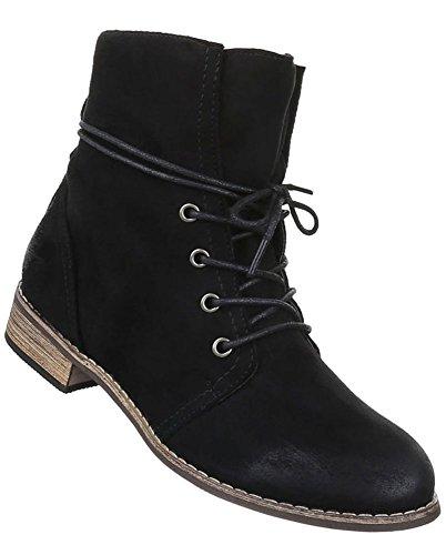 Damen Schuhe Stiefeletten Scnürer Boots Used Optik Modell Nr.3 Schwarz