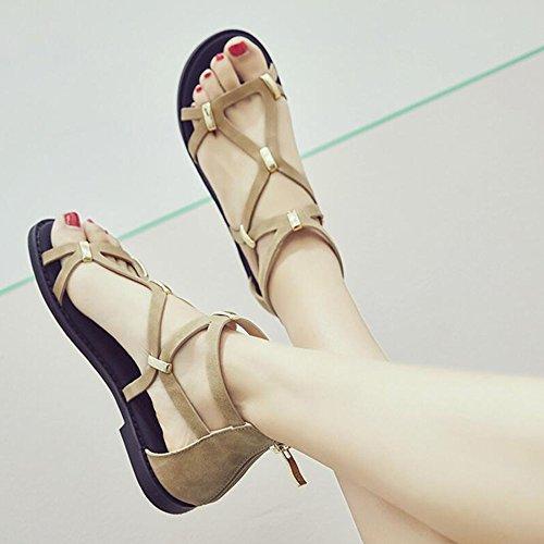 moda beige EU39 Del Zapatos Verano Portátil UK6 Zapatos Color De Tamaño Los Sandalias De Las De Negro Planos Zapatos Los LIXIONG Beige Estudiantes De Femeninos CN39 La Negro Manera de WBvqFUnw