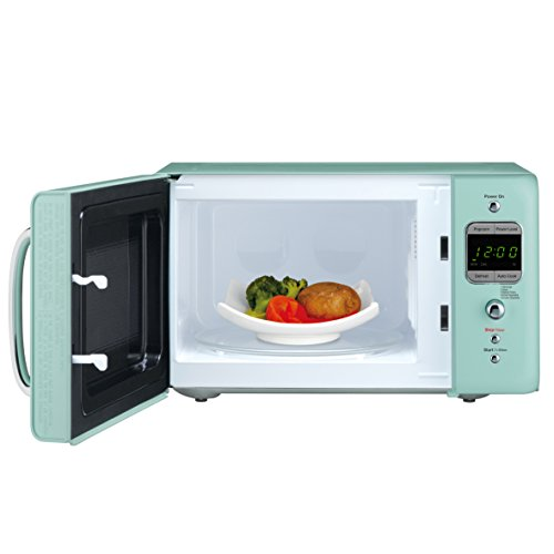 Daewoo KOR-7LREM Retro Countertop Microwave Oven 0.7 Cu. Ft., 700W | Mint Green - smallkitchenideas.us