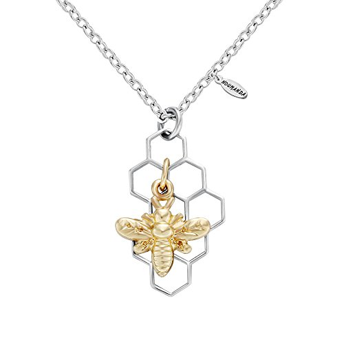 Necklace Bee Charm (NOUMANDA Geometric Hexagon Silver Honeycomb Necklace with Gold Bee Charm Nature Jewelry (Silver))