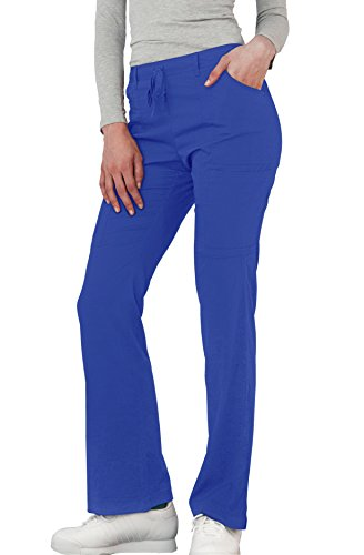 Adar Indulgence Womens Jr Fit Low Rise Boot Cut Patch Pocket Scrub Pants - 4104 - Royal Blue - - Scrub Flare Fit