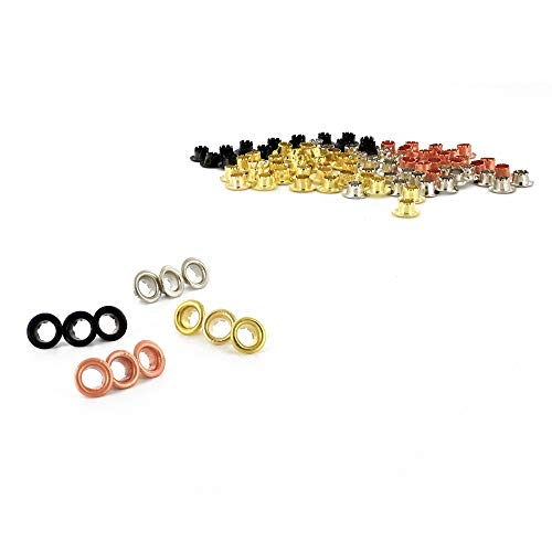 """RamPro 3/16"""" Metal Eyelets, Stainless Steel Grommets with Brass, Silver, Copper and Black Finish, for Shoes Clothes Crafts Eyelet Repair Replacement Pack, Set of 100"""
