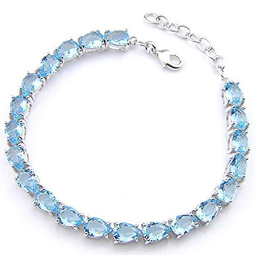 - FidgetFidget Awesome 60.25 Cts Titanic Ocean Blue Topaz Gemstone Silver Charm Bracelet B1008