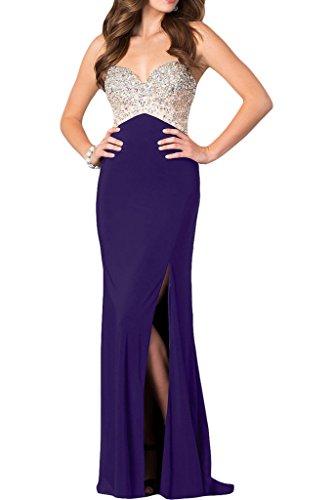 Schlitz Partykleid Strasssteine Promkleid Damen Ivydressing Abendkleid Violett Spaghetti Hochwertig wFpxqT