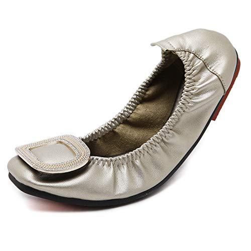 FLYRCX Zapatos Planos de Las señoras Plegables portátiles Zapatos de Trabajo de Oficina Ocasionales Zapatos de Maternidad Antideslizantes de la Manera Suave y Baja de la Primavera y del otoño C