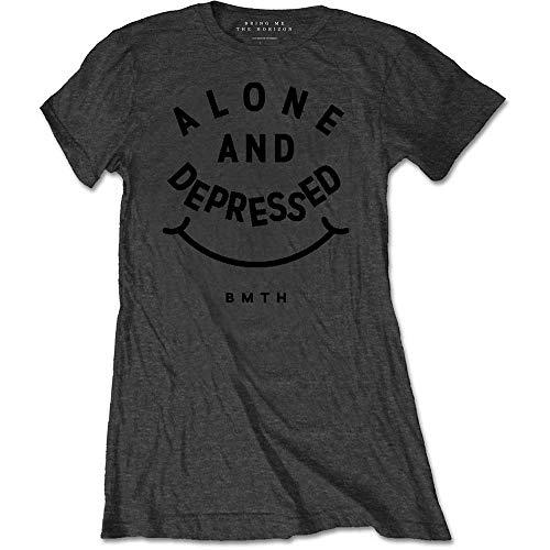 Alone Bring Shirt amp; T Grey Depressed Me Grey Grey Donna The Horizon trxtTq