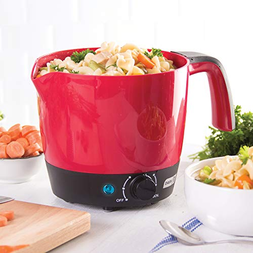 DASH Dash Express Electric Cooker Hot Pot with Temperature Control for Noodles, Rice, Pasta, Soups, Boiling Water & More, 1.2L - Red