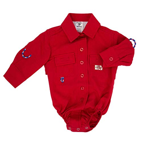 BullRed Baby Boys Red PFG Vented Fishing Shirt Button Up One Piece Snaps, 9m