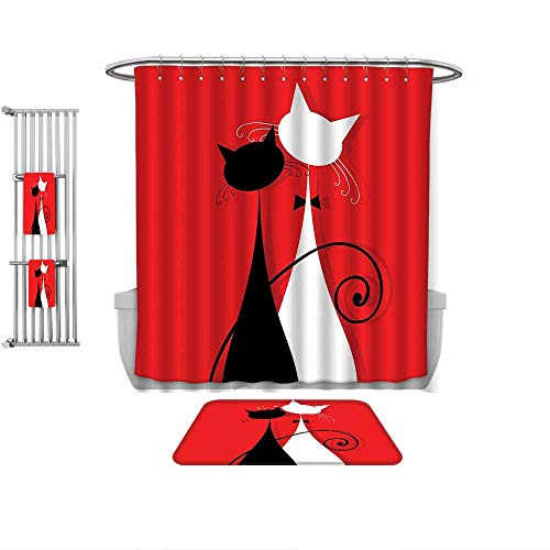 QINYAN-Home 4-Piece Bathroom Set-Red and Black March Spring Season Lover Cats in Wedding Gowns with Swirl Tails Image Scarlet and White, 1-Shower Curtain,1-Mats 1-Bath Towel-Multiple Sizes 4 Piece Frosty Bath