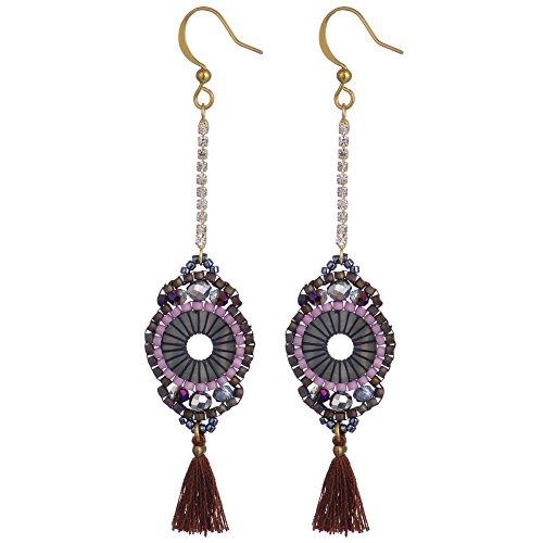 BeadChica Handmade Boho Dangle Earrings for Women Tassel Beadwork Jewelry (Color 4)