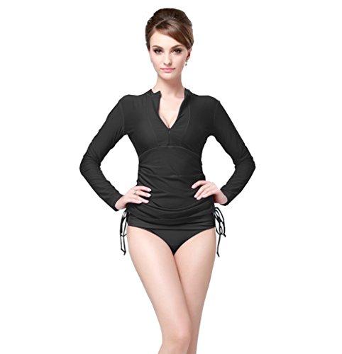 Long Sleeve Shirt Suits (Women's Long Sleeve Rash Guard Wetsuit Swimsuit Top UV Sun Protection (L, Black))