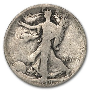 1919 S Walking Liberty Half Dollar Good Half Dollar Good